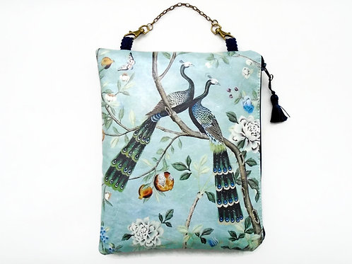Chinoiserie hanging bag, vegan faux leather cosmetic bag.
