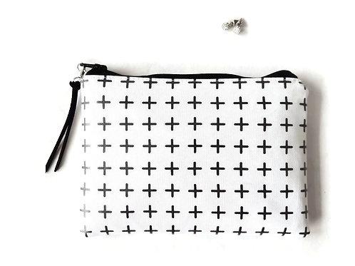 Crosses, Plus sign vegan vinyl zipper wallet.
