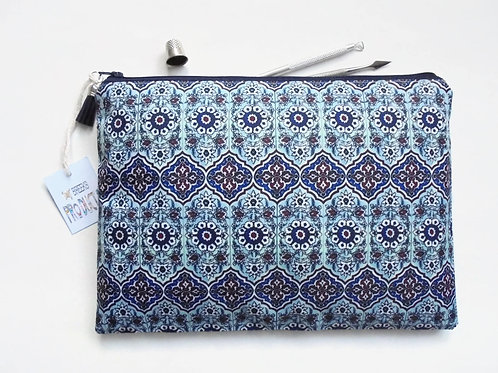 Gifts for her, Wash bag, turkish tile print, travel bag, cosmetic bag, zip bag,