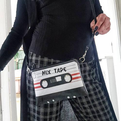 Cassette tape crossbody wallet.