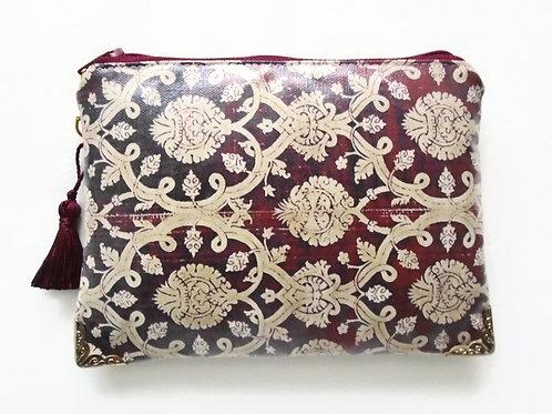 Antique ornate maroon wallet, faux leather vegan zipper bag.