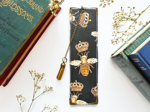 book lover gift, gold embroidered bee print.