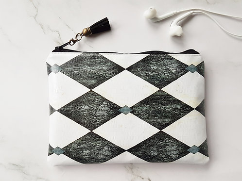 Harlequin wallet,water resistant colour pop pouch,vegan leather purse, eco