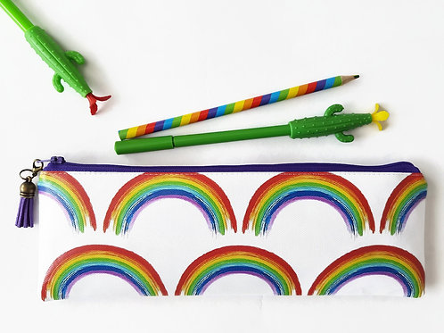 Back to school,rainbows fabric,water resistant pencil case,vegan leather pencil