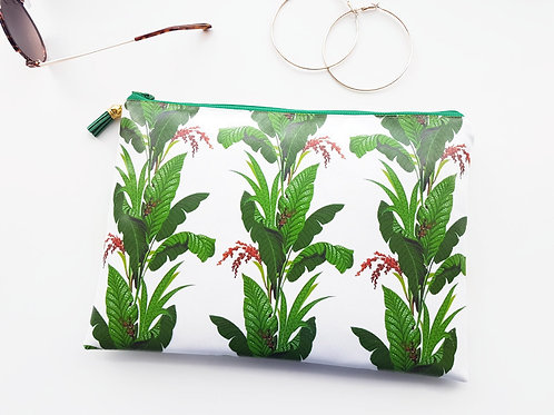 Green leafy print vegan washbag.