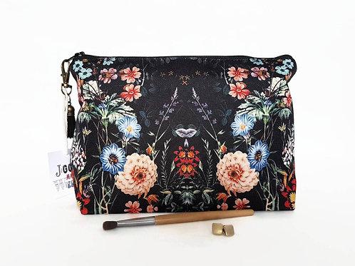 Black botanical dumpy wash bag,roomy bag,toiletries pouch,cosmetics pouch,large
