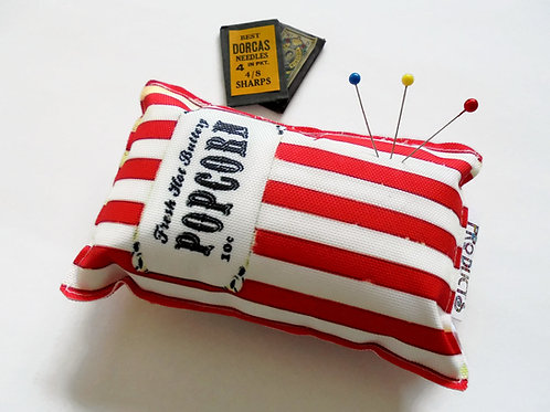 Sewing Gift, Canvas Pin cushion, Vintage branding, Popcorn, seamstress, tailor,