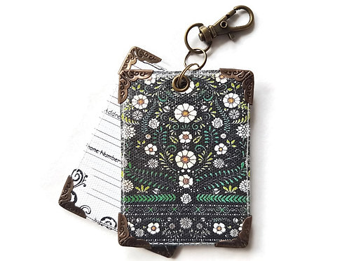 Green folky floral luggage tag, bag charm, ID tag.