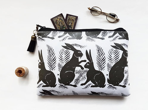 hare fabric,bunny print,rabbit lover gift,vegan wallet,eco friendly gift,vegan g