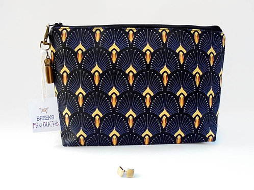 Art deco Fan print, washbag, cosmetic bag,1920s style,the great gatsby,