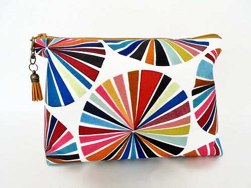 Canvas Wash bag, colour wheel, colourful travel bag, cosmetic bag, zip bag