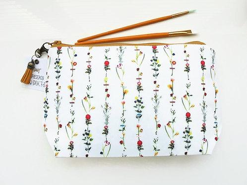 Dumpy Wash bag, Botanical print, Floral wash bag, flower stems cosmetic bag