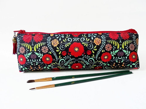 Art gifts, Folk print, pencil pouch, brush bag, art gift, student gift
