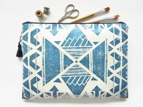 Large Waterproof Tribal zipper bag, Clutch, Cosmetic, Make-up, Toiletries, Book