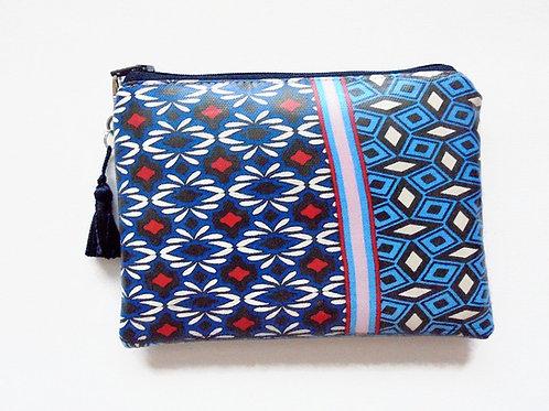 Ethnic geo mix vegan wallet, faux leather zipper pouch.