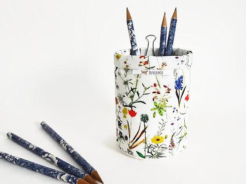Botanical Pen caddy,brush caddy,storage pots,botanical print,wall grid storage,b