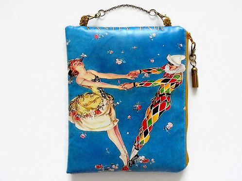 hanging pouch, travel bag, harlequin, vanity fair.