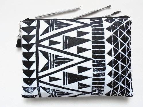 Gifts for her, Wash bag, tribal, monochrome, arrows, geo mix, travel bag, cosmet