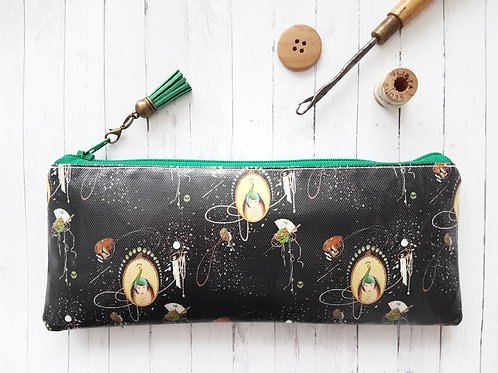 Hats & Haberdashery print vegan pencil case.
