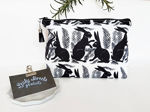 Hare print makeup bag,mothers day gift,bunnies gift,rabbits gift,monochrome