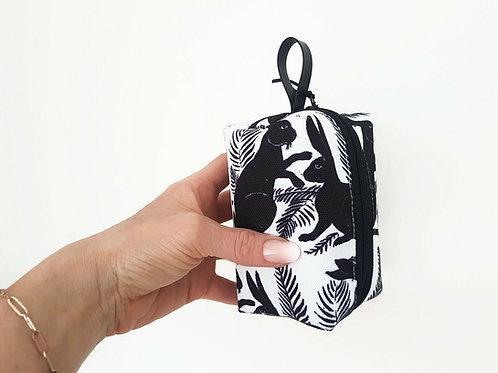 Hare print, monochrome handy pouch.