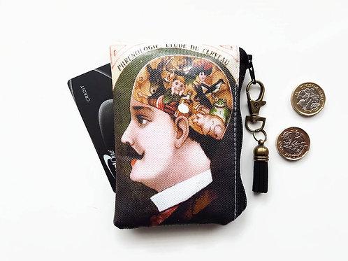 credit card Wallet, coin purse,phrenology print.