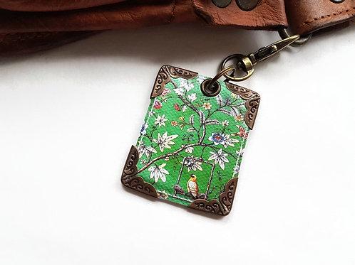 Green Chinoiserie keyring,bag charm, purse charm,bag tag,bag accessory,key chain