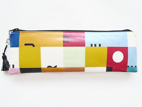 Colour block vegan vinyl pencil case.