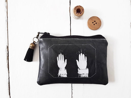 Levitating hands print credit card wallet, zipper pouch in faux leather.
