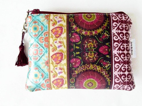 Boho print wallet,vegan faux leather zipper pouch.
