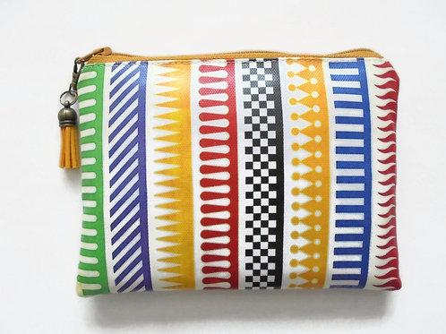 Colour block vegan faux leather wallet.