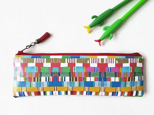 Colour block, deckchair stripe, Pencil case,Art gifts,vegan vinyl pencil case.
