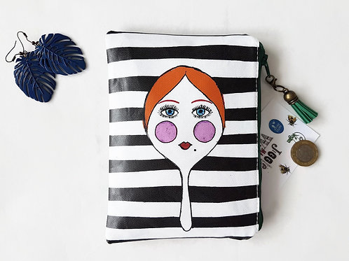 Doll face fabric, black and white stripe ,vegan vinyl zipper wallet.