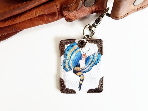 1920s artdeco keyring,flapper girl bag tag,bag accessory,butterfly girl