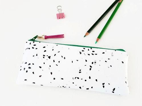 Dragon Fruit Pencil Zipper pouch, vegan, water resist pen case.