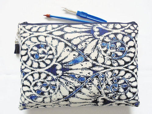 Wash bag, indigo print, boho, pocket bag, travel bag, cosmetic bag, zip bag