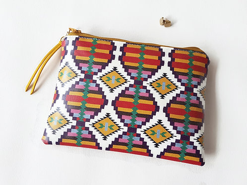 Native american inspired vegan wallet,water resistant zipper pouch in spiced.