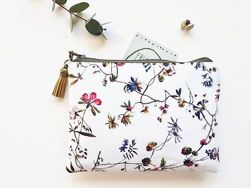 Botanical print wallet,floral makeup bag,botanical zipper bag,floral wallet