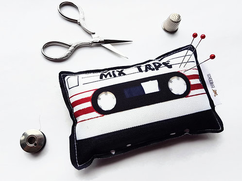 Mixed tape cassette pin cushion.