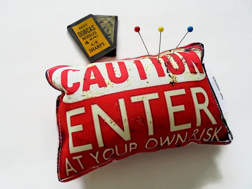 Sewing Gift, Canvas Pin cushion, Enter at your own risk, seamstress, tailor