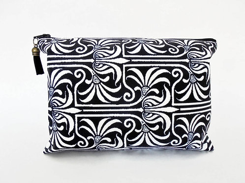 Gifts for her, Canvas Wash bag, Art Nouveau, monochrome, cosmetic bag, zip bag,