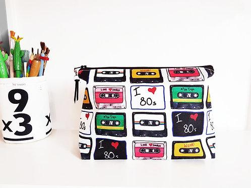 Cassette tapes make-up bag, travel bag, cosmetic bag, zip bag, make up b
