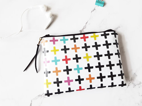 Colour Pop Crosses, Plus sign vegan vinyl zipper wallet.