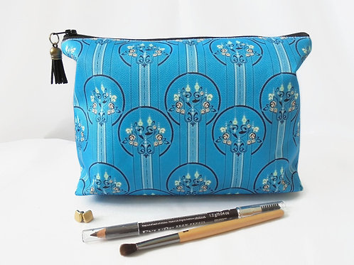 Gifts for her, Wash bag, art deco, turquoise, travel bag, cosmetic bag, zip bag,