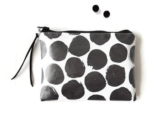 Large Polka Dot vinyl wallet, zippered wallet.