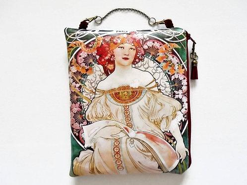 Art Nouveau large waterproof hanging cosmetic bag, book bag, toiletries.
