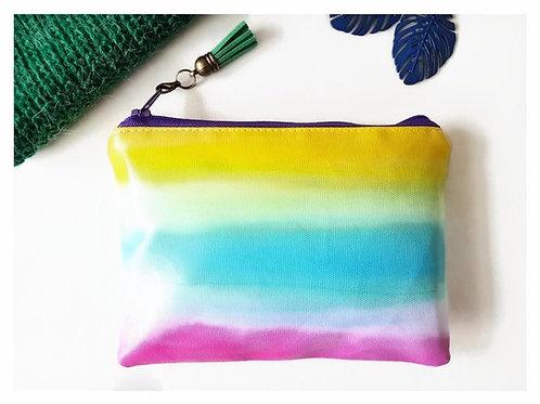 Rainbow wallet,water resistant colour pop pouch,vegan leather purse, eco wallets