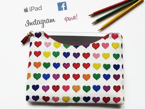 Love hearts colourful tablet sleeve, colour pop fabric,iPad pro 9.7