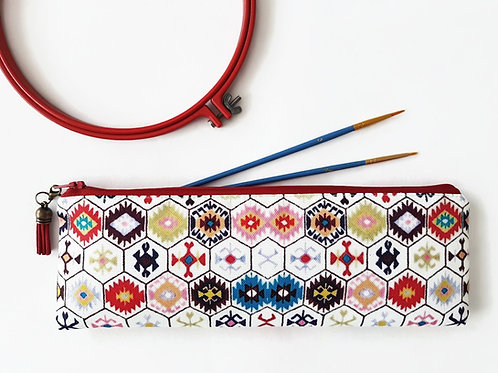 pencil case,hexagon tribal,art gift,art bag,pencil bag,pencil pouch