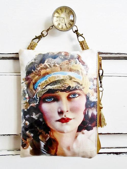 Beautiful Gypsy Girl vegan vinyl hanging bag wallet.